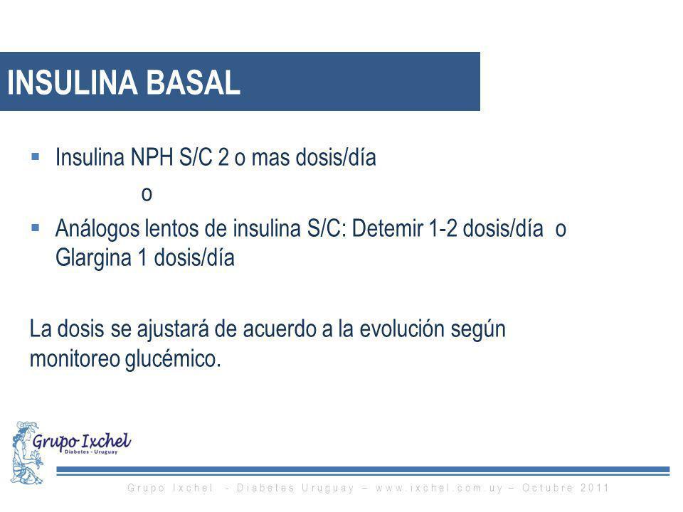 INSULINA BASAL Insulina NPH S/C 2 o mas dosis/día o Análogos lentos de insulina S/C: Detemir 1-2 dosis/día o Glargina 1 dosis/día La dosis se ajustará