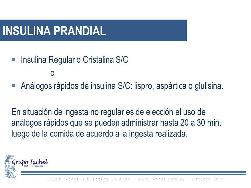 Insulina Regular o Cristalina S/C o Análogos rápidos de insulina S/C: lispro, aspártica o glulisina. En situación de ingesta no regular es de elección