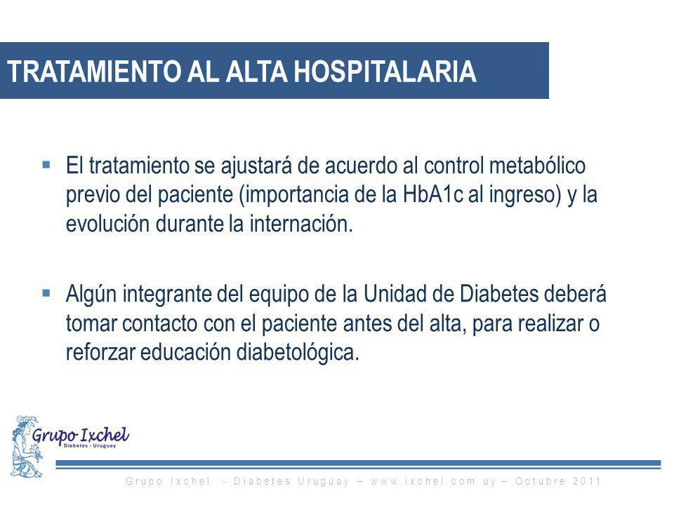 TRATAMIENTO AL ALTA HOSPITALARIA El tratamiento se ajustará de acuerdo al control metabólico previo del paciente (importancia de la HbA1c al ingreso)