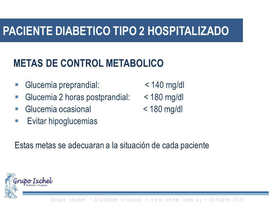 PACIENTE DIABETICO TIPO 2 HOSPITALIZADO Glucemia preprandial: < 140 mg/dl Glucemia 2 horas postprandial: < 180 mg/dl Glucemia ocasional < 180 mg/dl Ev