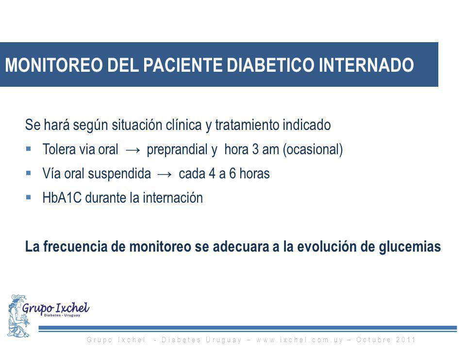 MONITOREO DEL PACIENTE DIABETICO INTERNADO Se hará según situación clínica y tratamiento indicado Tolera via oral preprandial y hora 3 am (ocasional)