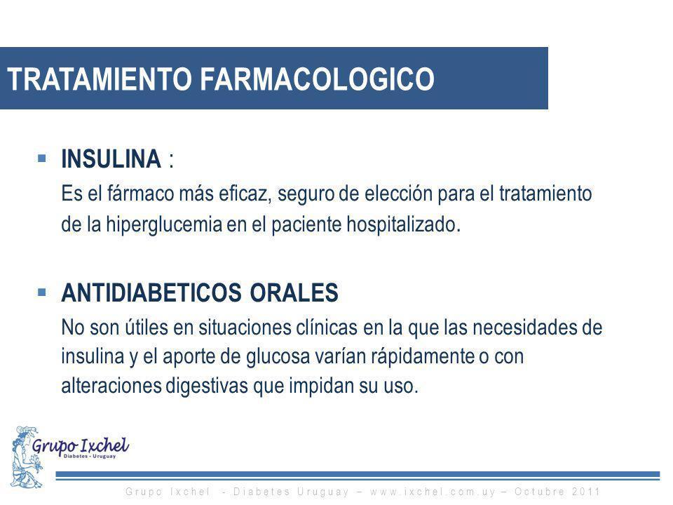 INSULINA : Es el fármaco más eficaz, seguro de elección para el tratamiento de la hiperglucemia en el paciente hospitalizado. ANTIDIABETICOS ORALES No