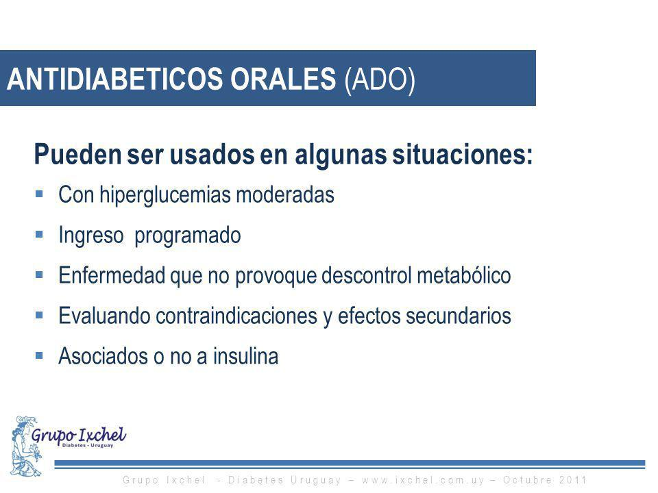 ANTIDIABETICOS ORALES (ADO) Pueden ser usados en algunas situaciones: Con hiperglucemias moderadas Ingreso programado Enfermedad que no provoque desco