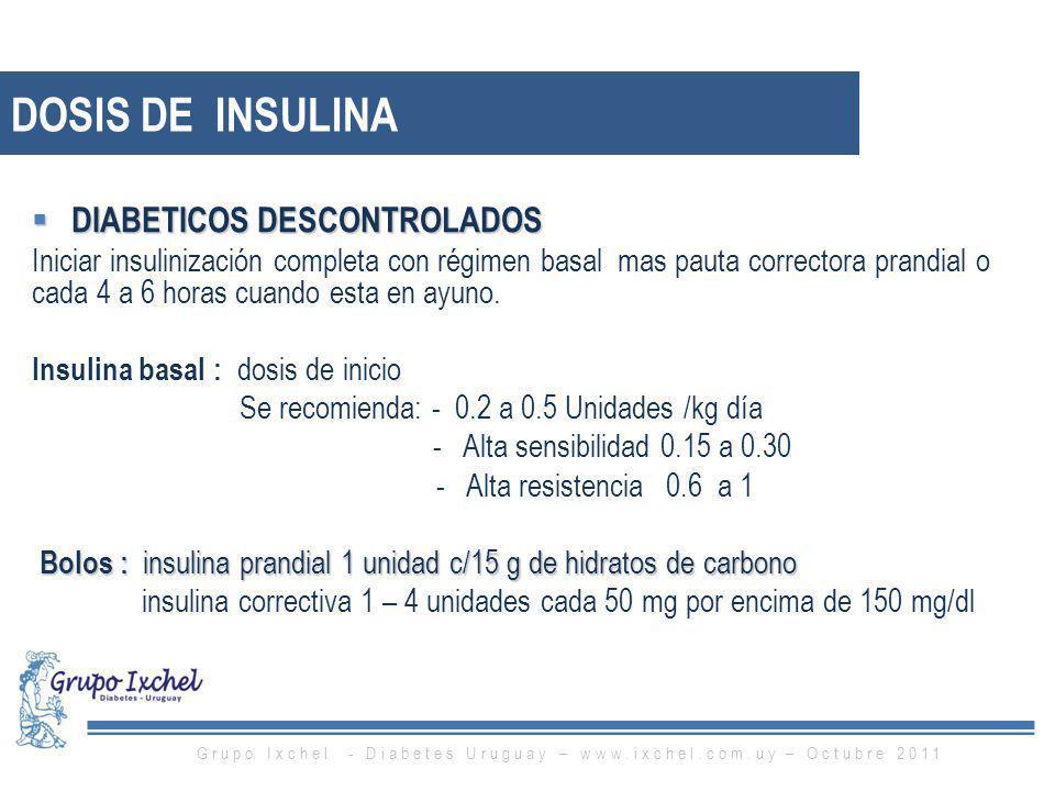 DIABETICOS DESCONTROLADOS DIABETICOS DESCONTROLADOS Iniciar insulinización completa con régimen basal mas pauta correctora prandial o cada 4 a 6 horas