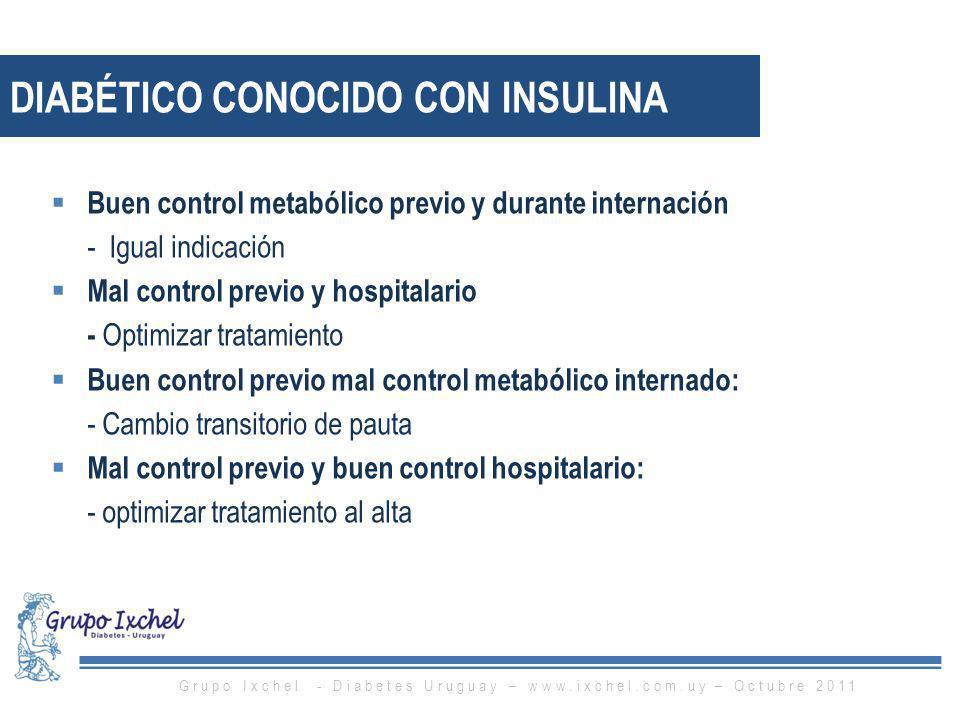 Buen control metabólico previo y durante internación - Igual indicación Mal control previo y hospitalario - Optimizar tratamiento Buen control previo