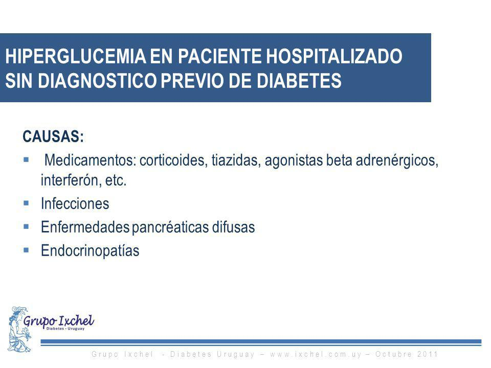 HIPERGLUCEMIA EN PACIENTE HOSPITALIZADO SIN DIAGNOSTICO PREVIO DE DIABETES CAUSAS: Medicamentos: corticoides, tiazidas, agonistas beta adrenérgicos, i
