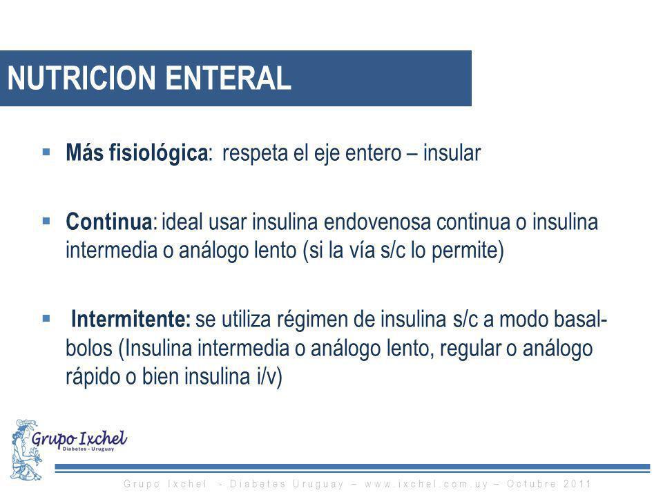 NUTRICION ENTERAL Más fisiológica : respeta el eje entero – insular Continua : ideal usar insulina endovenosa continua o insulina intermedia o análogo