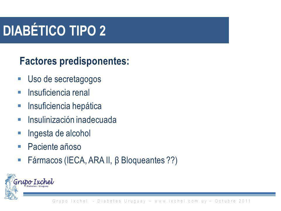 DIABÉTICO TIPO 2 Uso de secretagogos Insuficiencia renal Insuficiencia hepática Insulinización inadecuada Ingesta de alcohol Paciente añoso Fármacos (