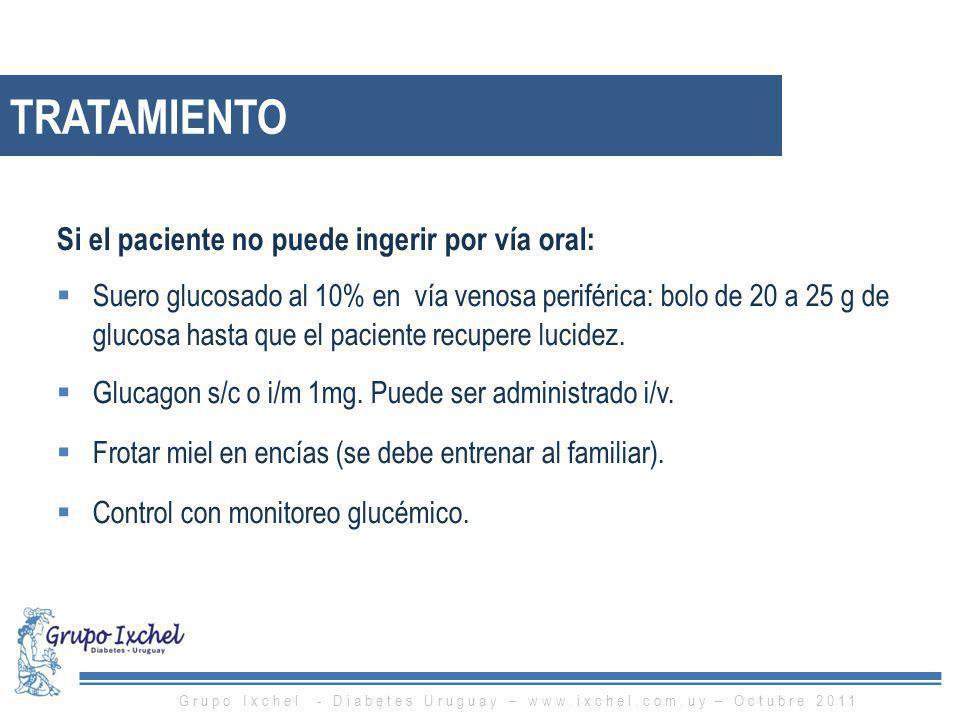 Si el paciente no puede ingerir por vía oral: Suero glucosado al 10% en vía venosa periférica: bolo de 20 a 25 g de glucosa hasta que el paciente recu