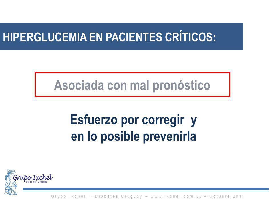 HIPERGLUCEMIA EN PACIENTES CRÍTICOS: Asociada con mal pronóstico Esfuerzo por corregir y en lo posible prevenirla Grupo Ixchel - Diabetes Uruguay – ww
