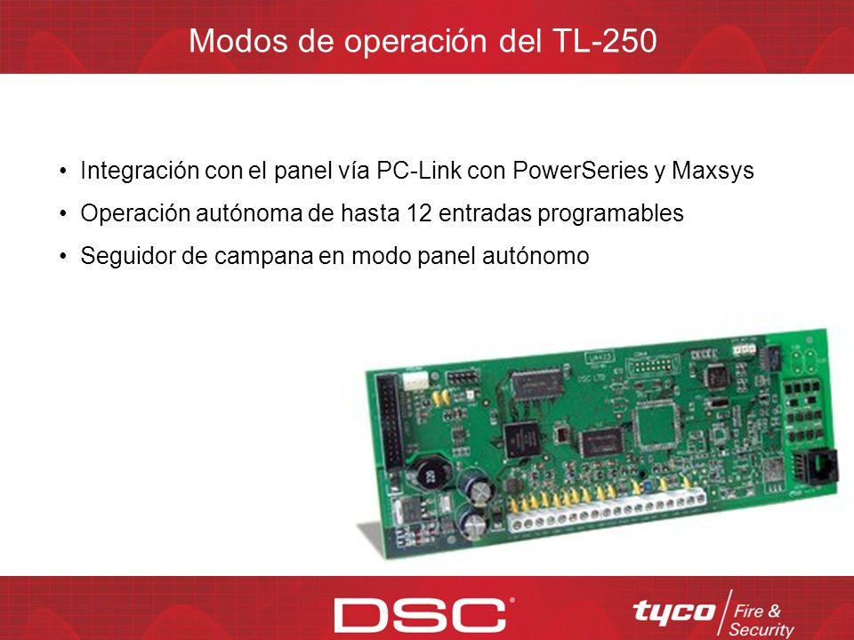 Se alimenta mediante fuente externa de 12V DC (AUX. del panel) Puerto PC-Link para integración con el panel 3 direcciones IP de Receptor(es) Sur-Gard
