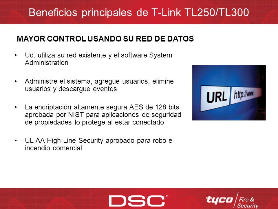 Beneficios principales de T-Link TL250/TL300 No más fallas de línea telefónica del sistema de seguridad T-Link de DSC detecta fallas con la estación c