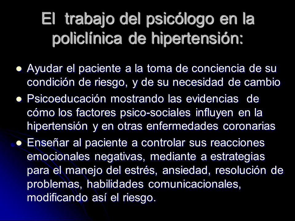 El trabajo del psicólogo en la policlínica de hipertensión: Ayudar el paciente a la toma de conciencia de su condición de riesgo, y de su necesidad de