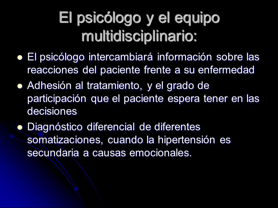 El psicólogo y el equipo multidisciplinario: El psicólogo intercambiará información sobre las reacciones del paciente frente a su enfermedad El psicól
