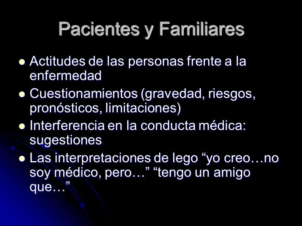 Pacientes y Familiares Actitudes de las personas frente a la enfermedad Actitudes de las personas frente a la enfermedad Cuestionamientos (gravedad, r