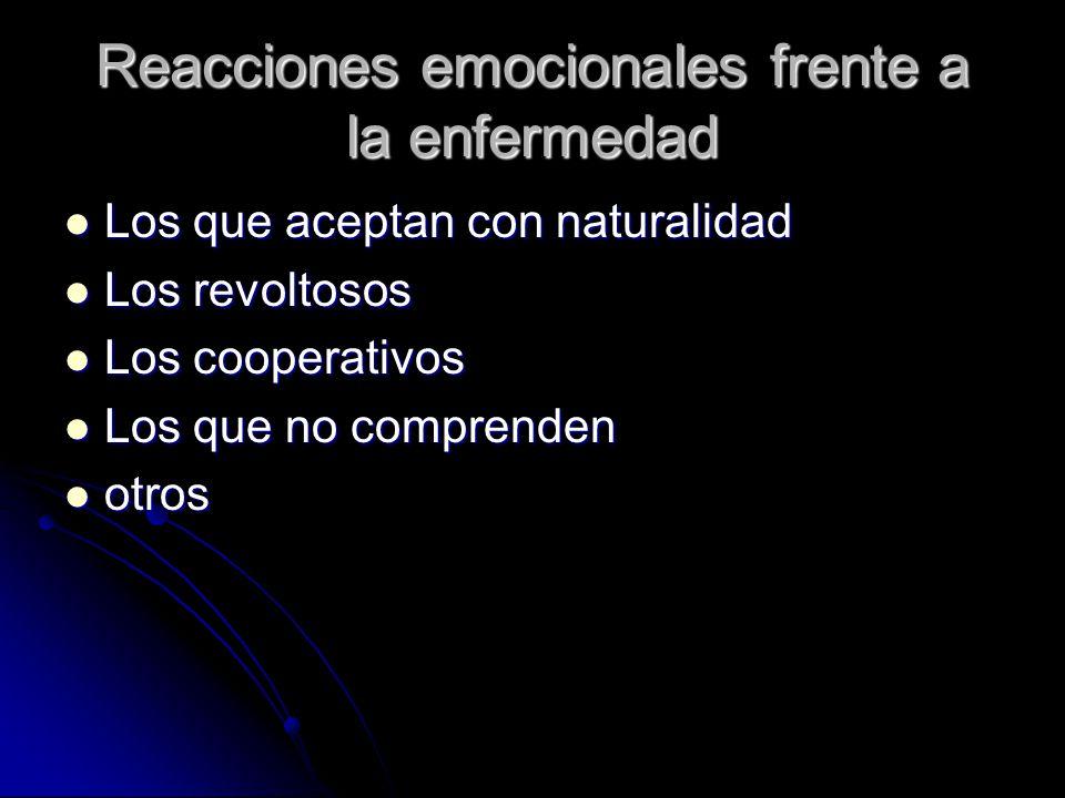 Reacciones emocionales frente a la enfermedad Los que aceptan con naturalidad Los que aceptan con naturalidad Los revoltosos Los revoltosos Los cooper