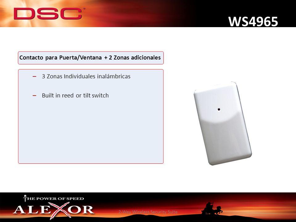 2-Way Wireless Security Suite WS4965 Contacto para Puerta/Ventana + 2 Zonas adicionales – 3 Zonas Individuales inalámbricas – Built in reed or tilt sw