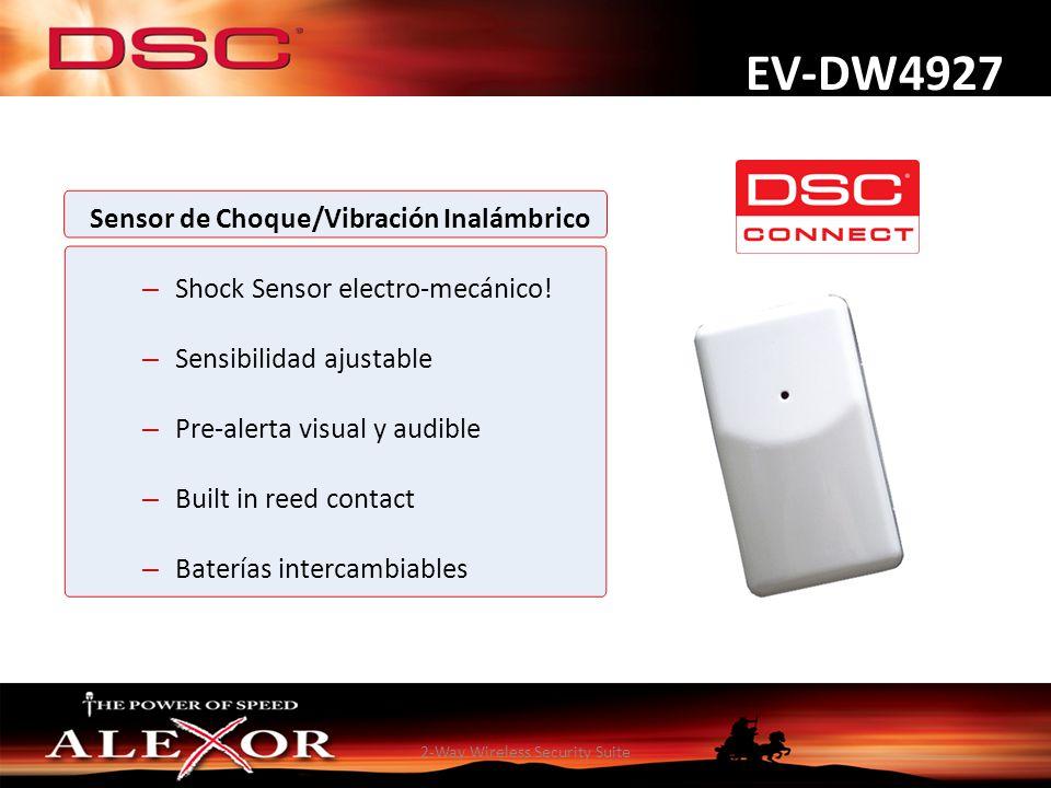 2-Way Wireless Security Suite EV-DW4927 Sensor de Choque/Vibración Inalámbrico – Shock Sensor electro-mecánico! – Sensibilidad ajustable – Pre-alerta