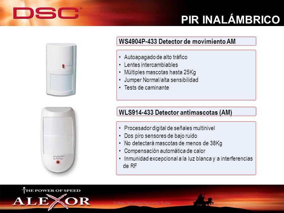 2-Way Wireless Security Suite WS4904P-433 Detector de movimiento AM Autoapagado de alto tráfico Lentes intercambiables Múltiples mascotas hasta 25Kg J