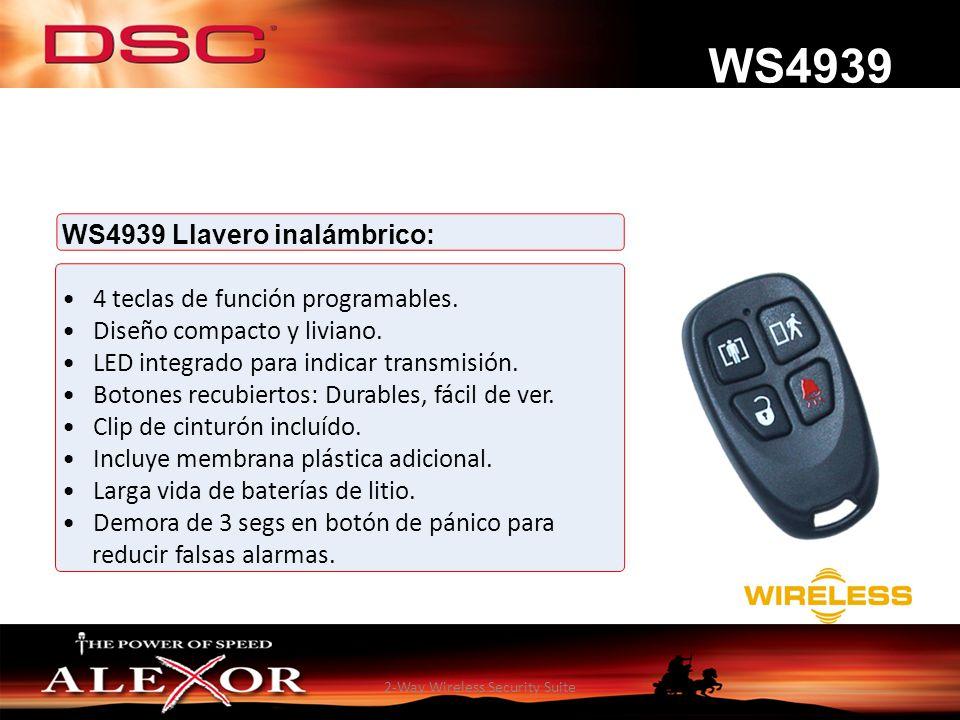 2-Way Wireless Security Suite WS4939 Llavero inalámbrico: 4 teclas de función programables. Diseño compacto y liviano. LED integrado para indicar tran