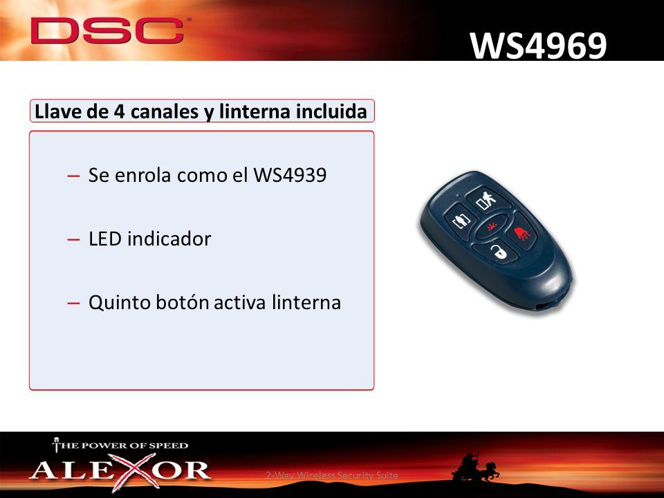 2-Way Wireless Security Suite WS4969 Llave de 4 canales y linterna incluida – Se enrola como el WS4939 – LED indicador – Quinto botón activa linterna