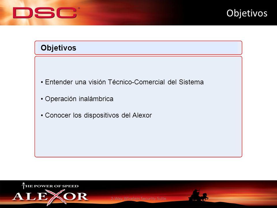 2-Way Wireless Security Suite Objetivos Entender una visión Técnico-Comercial del Sistema Operación inalámbrica Conocer los dispositivos del Alexor Ob