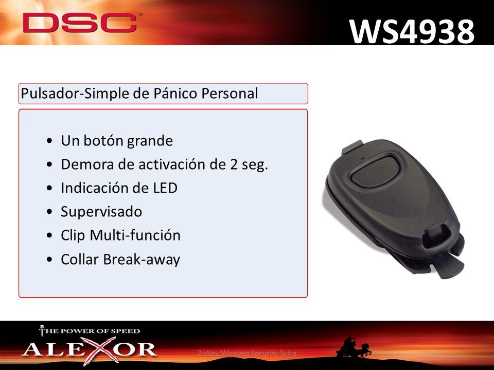 2-Way Wireless Security Suite WS4938 Pulsador-Simple de Pánico Personal Un botón grande Demora de activación de 2 seg. Indicación de LED Supervisado C