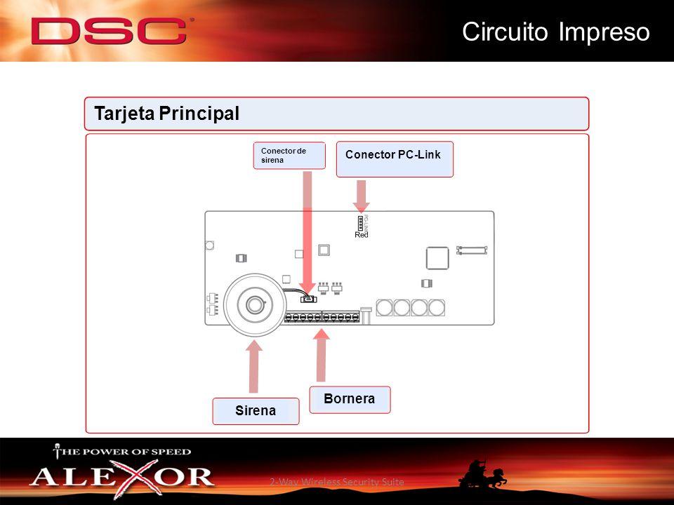 2-Way Wireless Security Suite Circuito Impreso Tarjeta Principal Conector de sirena Conector PC-Link Sirena Bornera