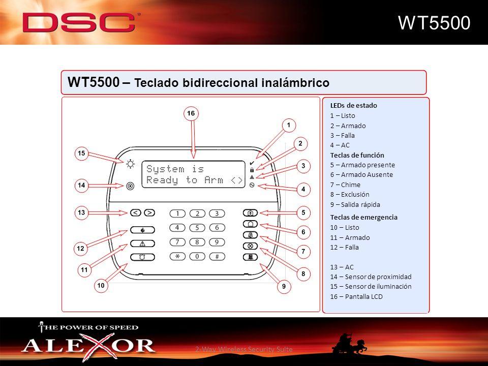 2-Way Wireless Security Suite WT5500 WT5500 – Teclado bidireccional inalámbrico LEDs de estado 1 – Listo 2 – Armado 3 – Falla 4 – AC Teclas de función