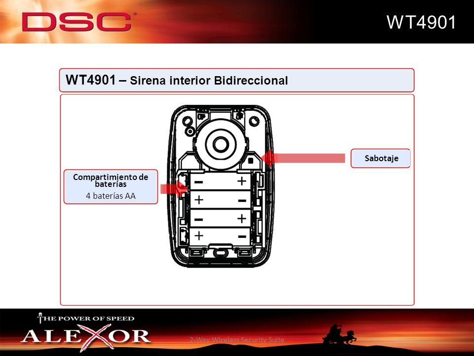 2-Way Wireless Security Suite WT4901 WT4901 – Sirena interior Bidireccional Sabotaje Compartimiento de baterías 4 baterías AA