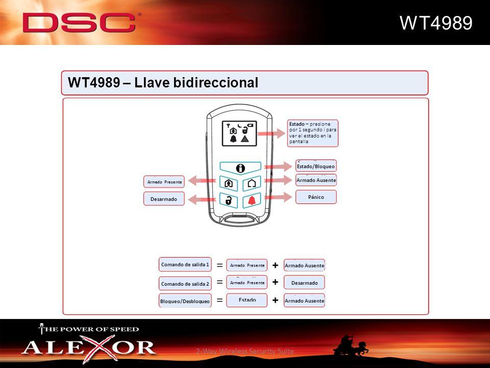 2-Way Wireless Security Suite WT4989 WT4989 – Llave bidireccional Estado – presione por 1 segundo i para ver el estado en la pantalla Estado/Bloqueo A
