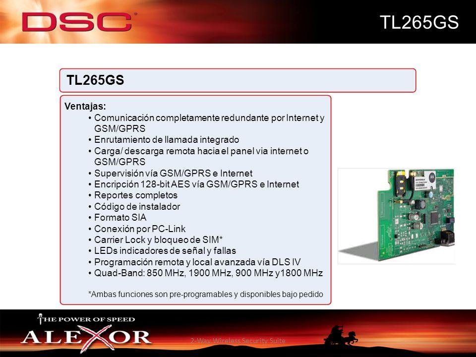 2-Way Wireless Security Suite TL265GS Ventajas: Comunicación completamente redundante por Internet y GSM/GPRS Enrutamiento de llamada integrado Carga/