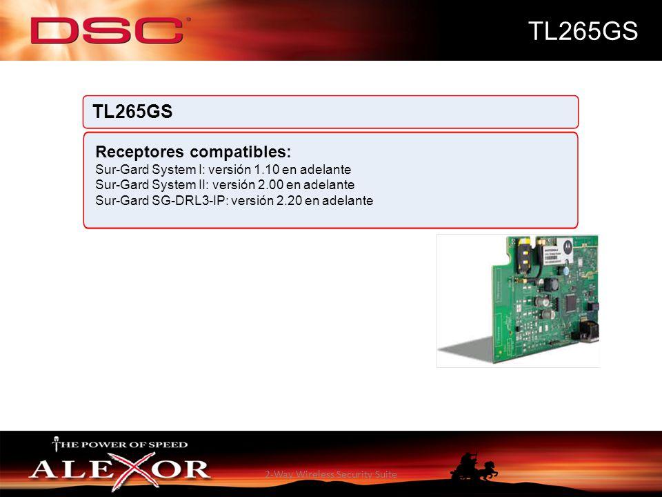 2-Way Wireless Security Suite TL265GS Receptores compatibles: Sur-Gard System I: versión 1.10 en adelante Sur-Gard System II: versión 2.00 en adelante