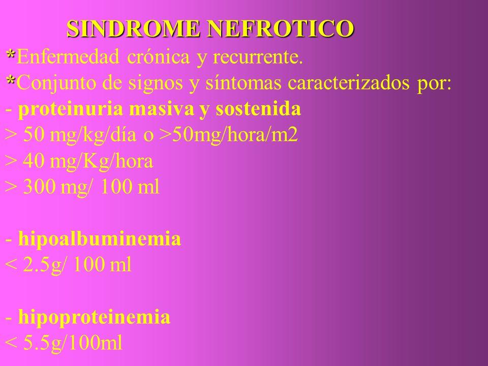 SINDROME NEFROTICO SINDROME NEFROTICO * *Enfermedad crónica y recurrente. * *Conjunto de signos y síntomas caracterizados por: - proteinuria masiva y