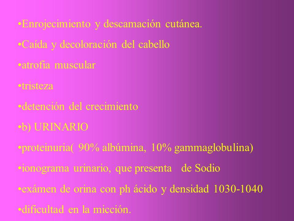Enrojecimiento y descamación cutánea. Caída y decoloración del cabello atrofia muscular tristeza detención del crecimiento b) URINARIO proteinuria( 90