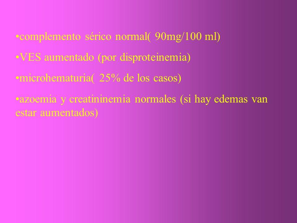 complemento sérico normal( 90mg/100 ml) VES aumentado (por disproteinemia) microhematuria( 25% de los casos) azoemia y creatininemia normales (si hay