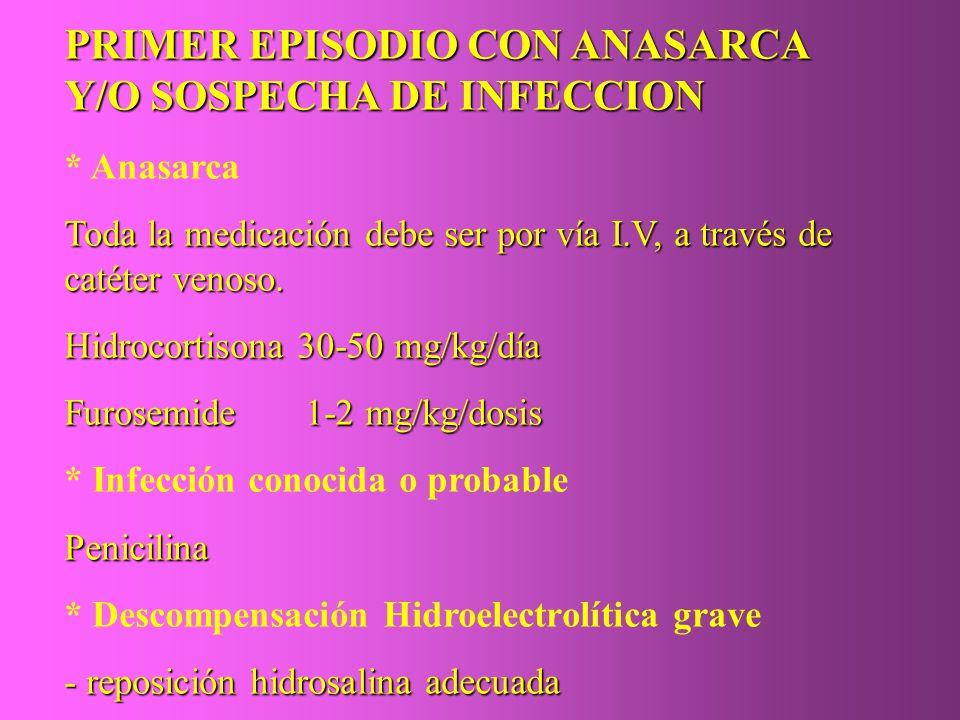 PRIMER EPISODIO CON ANASARCA Y/O SOSPECHA DE INFECCION * Anasarca Toda la medicación debe ser por vía I.V, a través de catéter venoso. Hidrocortisona