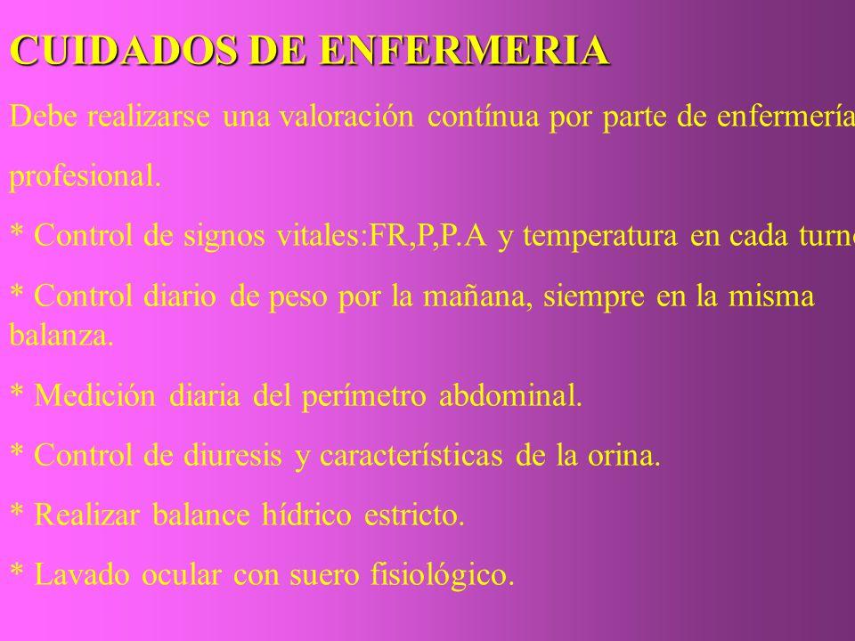 CUIDADOS DE ENFERMERIA Debe realizarse una valoración contínua por parte de enfermería profesional. * Control de signos vitales:FR,P,P.A y temperatura