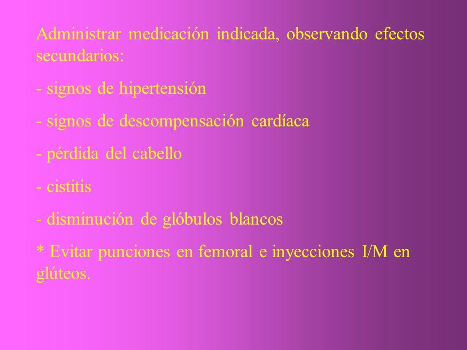 Administrar medicación indicada, observando efectos secundarios: - signos de hipertensión - signos de descompensación cardíaca - pérdida del cabello -