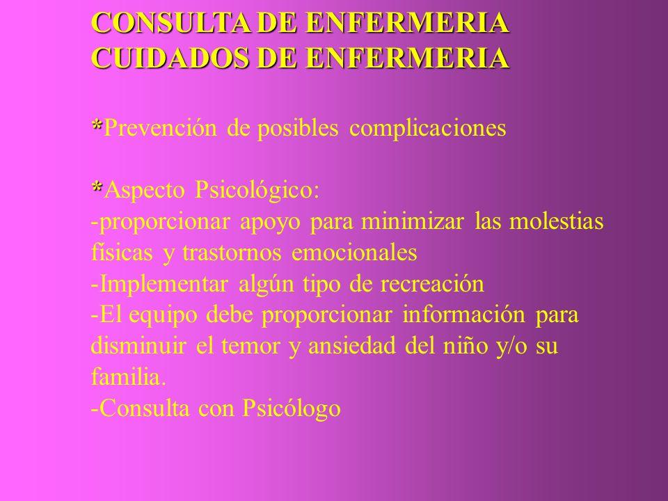 CONSULTA DE ENFERMERIA CUIDADOS DE ENFERMERIA * *Prevención de posibles complicaciones * *Aspecto Psicológico: -proporcionar apoyo para minimizar las