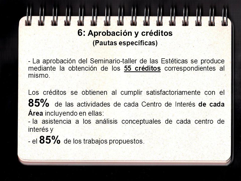 6: Aprobación y créditos (Pautas específicas) - La aprobación del Seminario-taller de las Estéticas se produce mediante la obtención de los 55 créditos correspondientes al mismo.