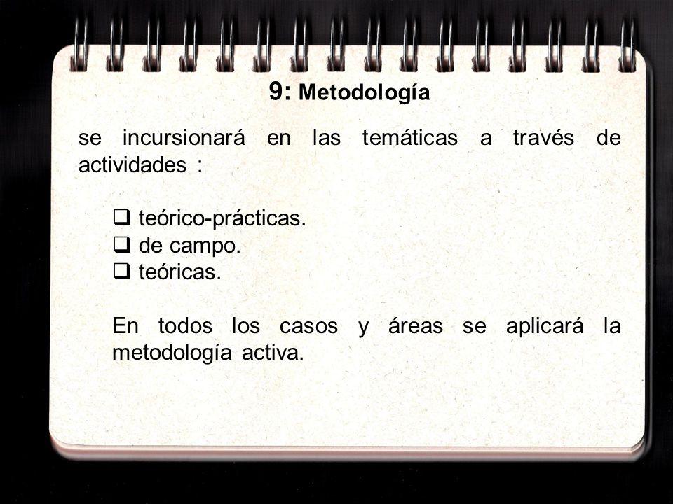 9: Metodología se incursionará en las temáticas a través de actividades : teórico-prácticas.
