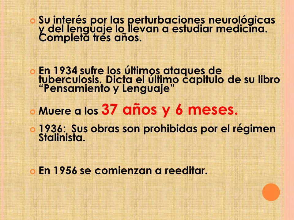 Su interés por las perturbaciones neurológicas y del lenguaje lo llevan a estudiar medicina. Completa tres años. En 1934 sufre los últimos ataques de