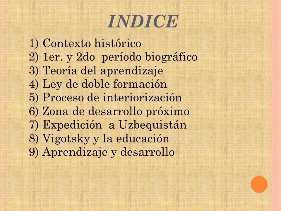 INDICE 1) Contexto histórico 2) 1er. y 2do período biográfico 3) Teoría del aprendizaje 4) Ley de doble formación 5) Proceso de interiorización 6) Zon