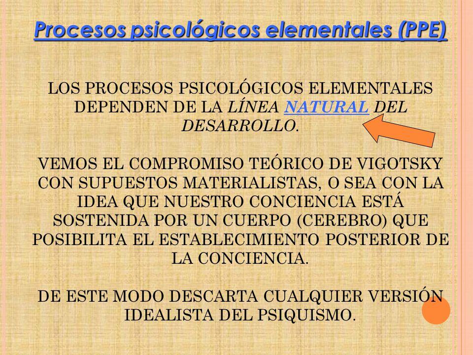LOS PROCESOS PSICOLÓGICOS ELEMENTALES DEPENDEN DE LA LÍNEA NATURAL DEL DESARROLLO. VEMOS EL COMPROMISO TEÓRICO DE VIGOTSKY CON SUPUESTOS MATERIALISTAS