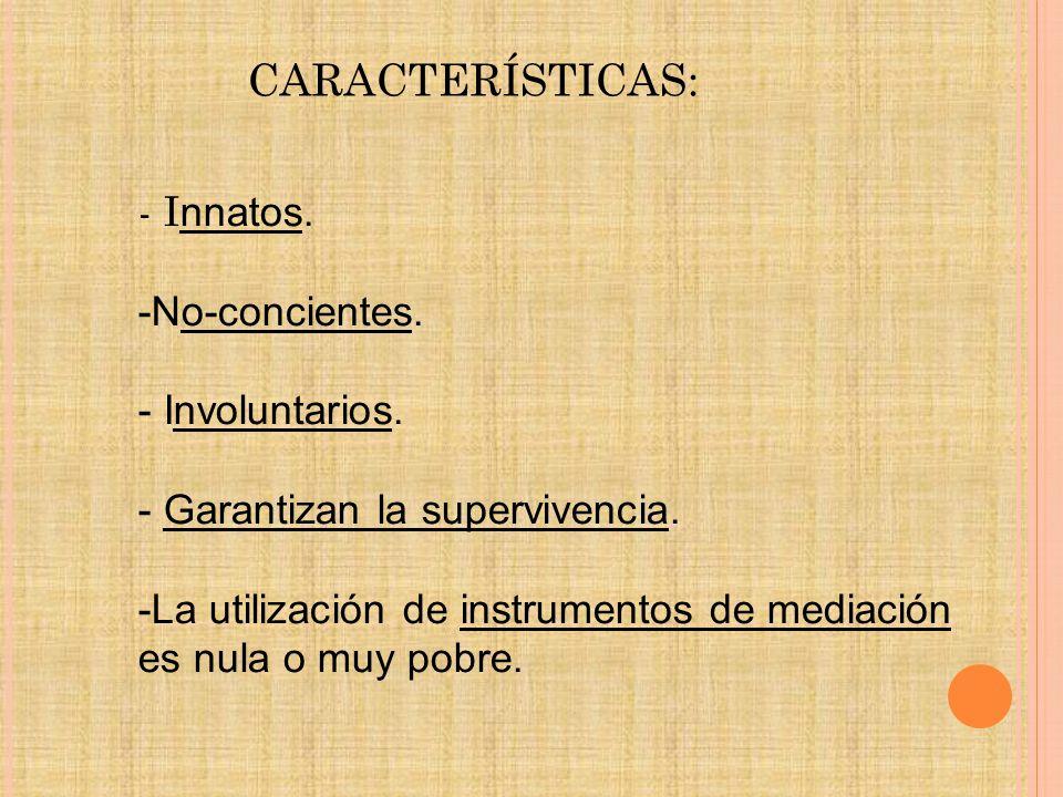 CARACTERÍSTICAS: - I nnatos.-No-concientes. - Involuntarios.