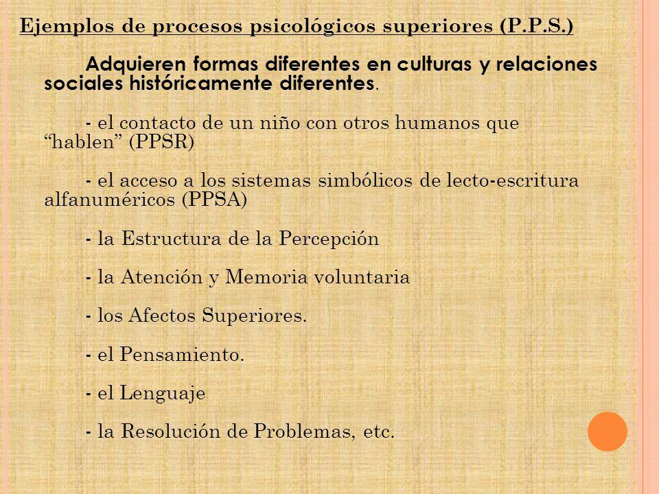Ejemplos de procesos psicológicos superiores (P.P.S.) Adquieren formas diferentes en culturas y relaciones sociales históricamente diferentes.