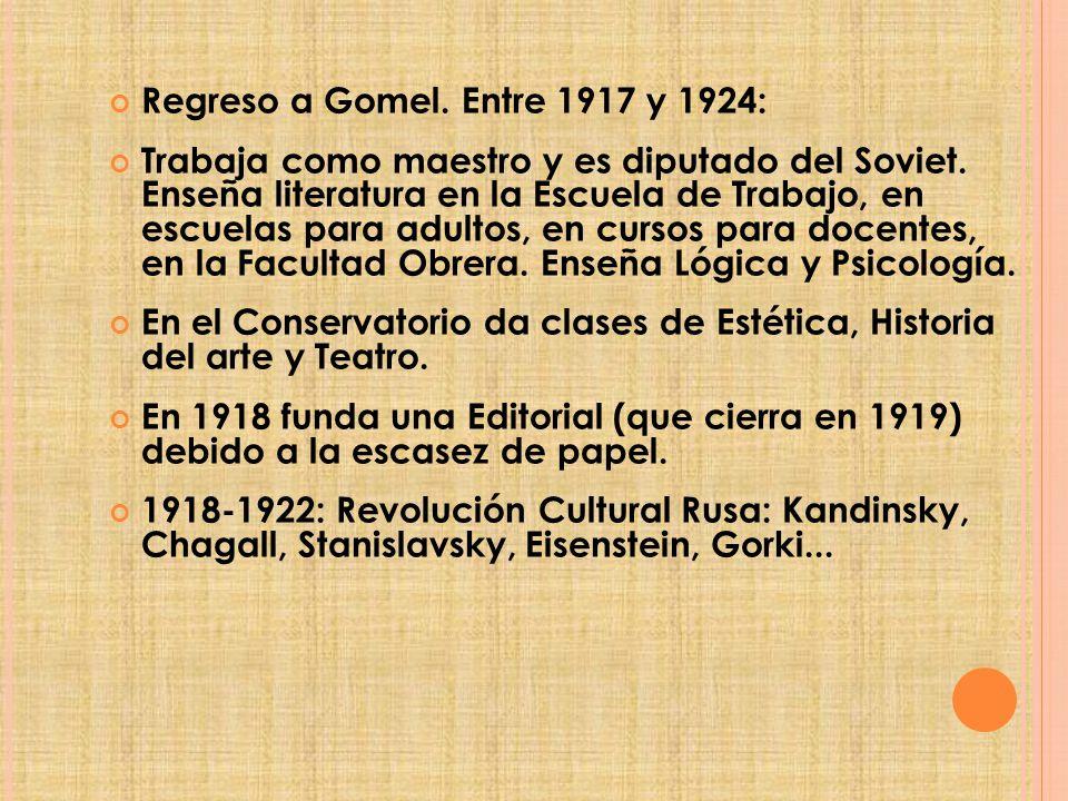 Regreso a Gomel.Entre 1917 y 1924: Trabaja como maestro y es diputado del Soviet.