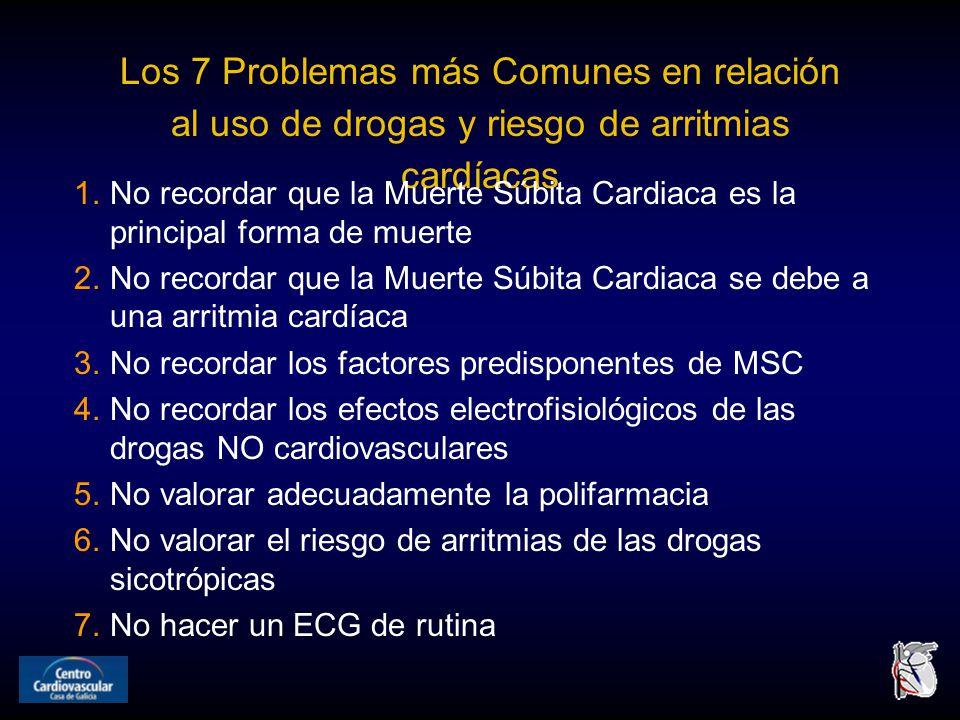 Los 7 Problemas más Comunes en relación al uso de drogas y riesgo de arritmias cardíacas 1.No recordar que la Muerte Súbita Cardiaca es la principal forma de muerte 2.No recordar que la Muerte Súbita Cardiaca se debe a una arritmia cardíaca 3.No recordar los factores predisponentes de MSC 4.No recordar los efectos electrofisiológicos de las drogas NO cardiovasculares 5.No valorar adecuadamente la polifarmacia 6.No valorar el riesgo de arritmias de las drogas sicotrópicas 7.No hacer un ECG de rutina
