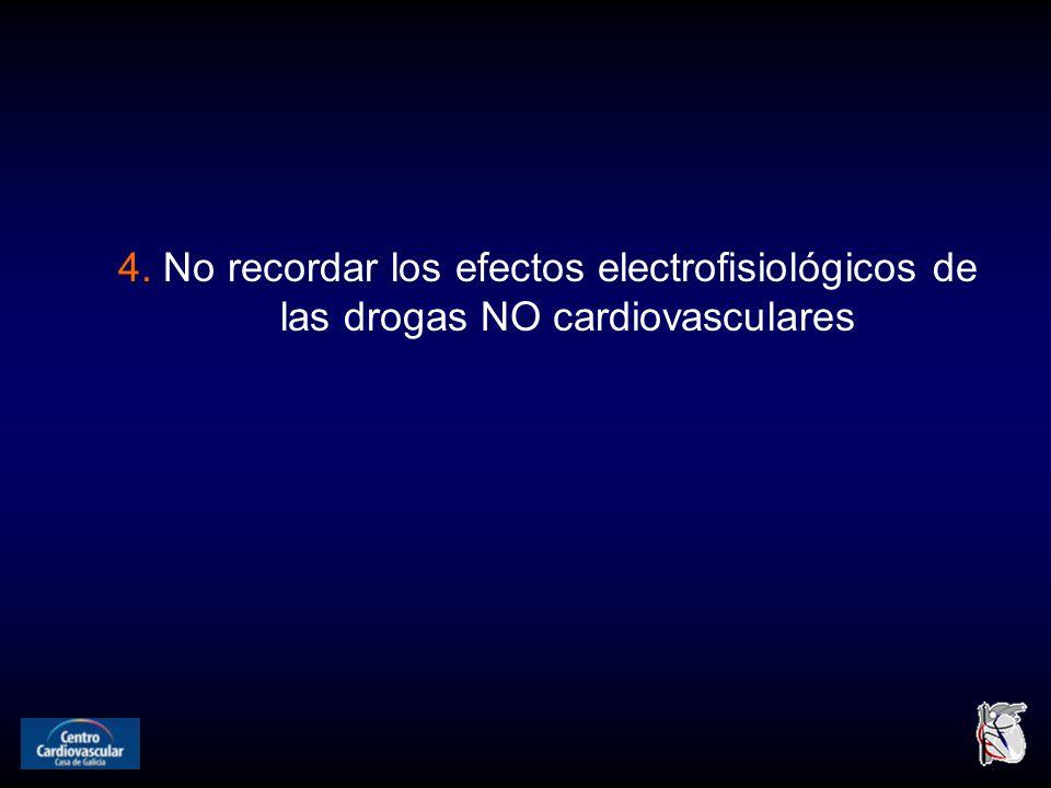 4. No recordar los efectos electrofisiológicos de las drogas NO cardiovasculares